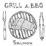BBQ και σχαρών λογότυπο Δίχτυ σολομών σε μια σχάρα σχαρών Με το δίκρανο και τις λαβίδες Λογότυπο θαλασσινών Επιλογές εστιατορίων  διανυσματική απεικόνιση