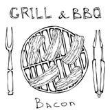 BBQ και σχαρών λογότυπο Μπέϊκον σε μια σχάρα σχαρών Ψημένο χοιρινό κρέας Slises Με το δίκρανο και τις λαβίδες καπνισμένος γάμος ν διανυσματική απεικόνιση