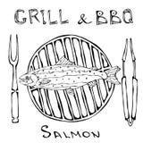 BBQ και σχαρών λογότυπο Σολομός σε μια σχάρα σχαρών Με το δίκρανο και τις λαβίδες Λογότυπο θαλασσινών Επιλογές εστιατορίων θάλασσ διανυσματική απεικόνιση