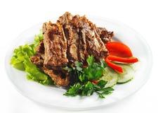 bbq καυτό κρέας πιάτων Στοκ Φωτογραφία
