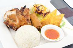 BBQ κοτόπουλο με το ρύζι ατμού Στοκ φωτογραφία με δικαίωμα ελεύθερης χρήσης