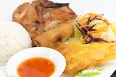 BBQ κοτόπουλο με το ρύζι ατμού Στοκ εικόνες με δικαίωμα ελεύθερης χρήσης