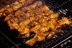 BBQ - Κοτόπουλο σε ένα ραβδί Στοκ Εικόνα