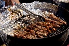 BBQ - Κοτόπουλο σε ένα ραβδί Στοκ Φωτογραφίες