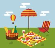 BBQ κόμμα Σχάρα και μαγείρεμα σχαρών Επίπεδο σχέδιο διανυσματική απεικόνιση