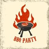 BBQ κόμμα Σχάρα με την πυρκαγιά στο υπόβαθρο grunge διάνυσμα εικόνας απεικόνισης στοιχείων σχεδίου απεικόνιση αποθεμάτων