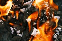 BBQ ξυλάνθρακα πυρκαγιάς φλογών σχαρών σχαρών Στοκ εικόνες με δικαίωμα ελεύθερης χρήσης