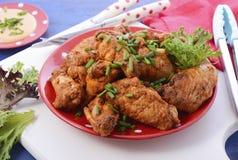 BBQ που θέτει με τα πικάντικα φτερά κοτόπουλου Στοκ Φωτογραφία