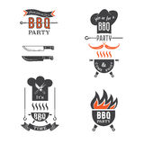 BBQ στοιχεία καρτών πρόσκλησης κομμάτων Στοκ Εικόνες