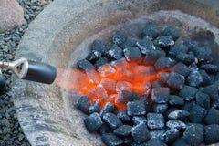 bbq σχάρα ανθρακόπλινθων στοκ εικόνα