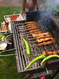 BBQ σχαρών τρόφιμα σχαρών που τρώνε έξω Στοκ Εικόνα