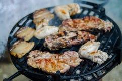 BBQ σύνολο του κρέατος Στοκ Εικόνες
