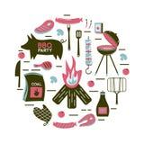 BBQ τα διανυσματικά προϊόντα γευμάτων κομμάτων εστιατορίων σχαρών κρέατος σχαρών στο σπίτι σουβλίζουν το ψήσιμο στη σχάρα του επι Στοκ Εικόνα