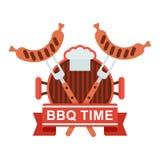 Bbq τηγάνι σχαρών λογότυπων ελεύθερη απεικόνιση δικαιώματος