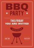 BBQ το κόμμα προσκαλεί την αφίσα της κάρτας πρόσκλησης Στοκ εικόνα με δικαίωμα ελεύθερης χρήσης