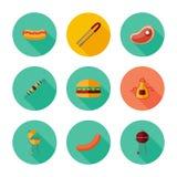 BBQ Комплект значка Стоковая Фотография