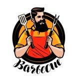 BBQ, логотип барбекю или ярлык Шеф-повар или счастливый кашевар держа гриль оборудуют шпатель и вилку alien кот шаржа избегает ве бесплатная иллюстрация