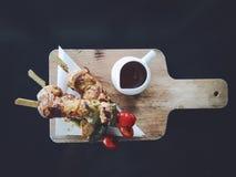 BBQ цыпленка с пряным соусом Стоковая Фотография