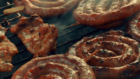 (BBQ)被射击的超特写镜头烤肉显示猪肉、牛肉、禽畜和鸡肉 股票视频
