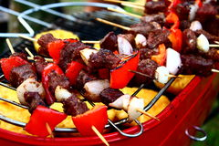 BBQ. Meat and vegetables on hot grill royalty free stock photo