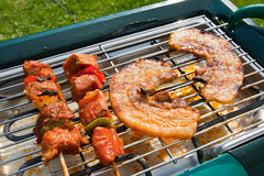 BBQ. And meat on a summer day royalty free stock photos