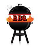 BBQ. Smoky fiery BBQ grill stock illustration