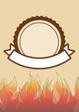 烤与空间的党邀请文本的, BBQ格栅 库存照片