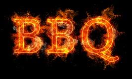 在火焰的BBQ词书面文本 库存图片