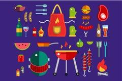 BBQ και τροφίμων διανυσματικό σύνολο εικονιδίων Υπαίθριος, κουζίνα Στοκ Εικόνες