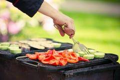 在一顿室外夏天BBQ或野餐的火 库存图片