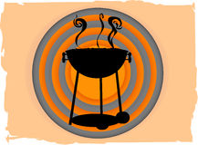 BBQ all'interno del bullseye astratto del cerchio grungy royalty illustrazione gratis