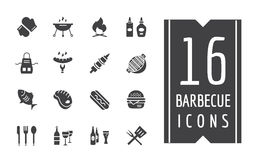 BBQ And Food Icons Vector Set. Outdoor, Kitchen Or Royalty Free Stock Photography