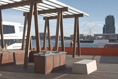 BBQ area in Docklands Stock Images