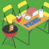 BBQ auf Gras ilustration Lizenzfreie Stockbilder