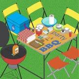BBQ auf Gras ilustration Lizenzfreie Stockfotografie