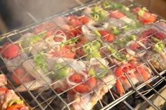 BBQ avec la cuisson de chiche-kebab Photographie stock