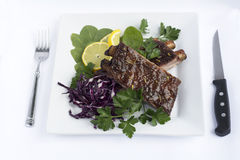 BBQ Baby Back Ribs. Smoked Barbecue Baby Back Ribs decorated with Spinach Red Cabbage Lemon and Parsley in a White Ceramic Plate with Folk and Knife on White Stock Photos