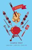 Bbq background blue. Cartoon chicken with flag,brazier,skewers,fork,handles,kebab, on the blue background Stock Photos
