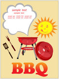 Bbq background,greeting card. Bbq background with brazier, text and funny face of sun Royalty Free Stock Photos