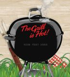 BBQ backyard party invitation. BBQ invitation vector backyard with grill and smoke the grill is hot wording your text here royalty free stock photo