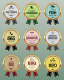 BBQ Badges with Ribbon. Golden BBQ Badges with Ribbon Stock Photography