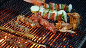 BBQ barbecue on chicken wings, pork, grilled skewers.  stock photography