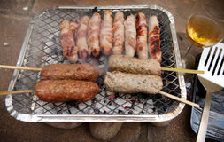 Bbq barbecue kebab sausage disposable Stock Photo