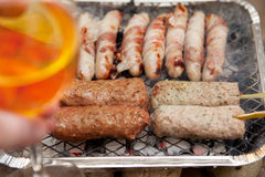 Bbq barbecue kebab sausage disposable Stock Photos