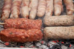Bbq barbecue kebab sausage disposable Royalty Free Stock Image