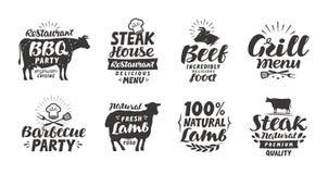 BBQ, barbecue, labels de viande Éléments de collection pour le restaurant de conception de menu illustration de vecteur