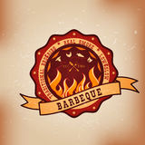 BBQ barbecue logo emblem design Royalty Free Stock Images