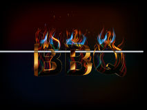 BBQ Barbecue Menu, 3d text with fire, flavors of grill. Vector Royalty Free Stock Image