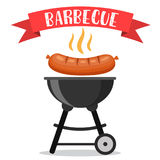Bbq or barbecue party invitation. Card. vector illustration in flat style Stock Photography