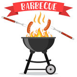 Bbq or barbecue party invitation. Card. vector illustration in flat style Royalty Free Stock Photo
